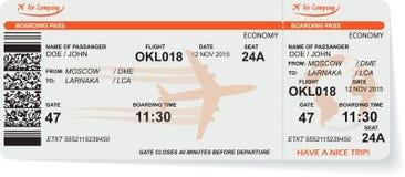 Patroon van het kaartje van de luchtvaartlijn instapkaart stock illustratie