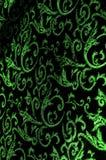 patroon van het Koninklijke monogram van de zijdestof Groen Lichtgevend fluweel r Royalty-vrije Stock Foto