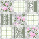 Patroon van het lapwerk het naadloze bloemenkant Stock Foto