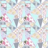 Patroon van het lapwerk het naadloze bloemenkant Royalty-vrije Stock Afbeeldingen