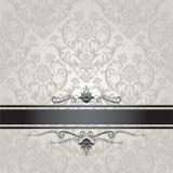 Patroon van het luxe het zilveren bloemenbehang met zwarte  Royalty-vrije Stock Afbeelding