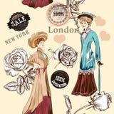 Patroon van het manier het naadloze behang met ouderwetse voorwerpen royalty-vrije illustratie