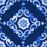 Patroon van het waterverf het blauwe fluweel Royalty-vrije Stock Foto