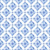 Patroon van het waterverf het blauwe kant Royalty-vrije Stock Afbeelding