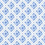 Patroon van het waterverf het blauwe kant Stock Fotografie