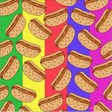 Patroon van hotdogs op een kleurrijke achtergrond royalty-vrije illustratie