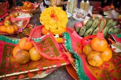 Patroon van Joss Paper en Oranje, Chinees of Maan nieuw jaar voor Stock Afbeelding