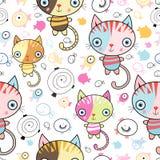 Patroon van katjes en vissen Stock Foto's