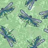 Patroon van libellen en tomatentakken Royalty-vrije Stock Foto's