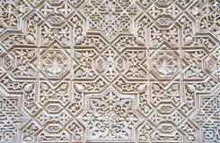Patroon van middeleeuwse Arabische kunst in Alhambra Stock Foto