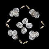 Patroon van ongebruikelijke die bladeren met een uiteinde op een zwarte achtergrond wordt geïsoleerd Textuur van zilveren bladere Royalty-vrije Stock Fotografie