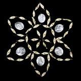 Patroon van ongebruikelijke die bladeren met een uiteinde op een zwarte achtergrond wordt geïsoleerd Textuur van zilveren bladere Royalty-vrije Stock Afbeelding