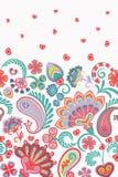 Patroon van Paisley van de damaststijl het bloemen verticale naadloze Naadloos hoog gedetailleerd sneeuwvlokkenpatroon Stock Fotografie