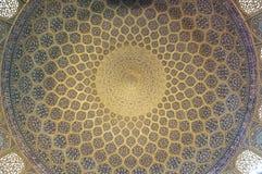 Patroon van plafond in Sjeik Lotf Allah Mosque Stock Foto's