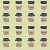 Patroon van plastiek en document Koffiekoppen op uitstekende achtergrond De Kopmodel van de inzamelings 3d Koffie Vector Malplaat Royalty-vrije Stock Afbeelding