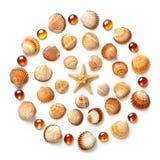 Patroon van shells, zeester en oranje die glasparels wordt op witte achtergrond wordt geïsoleerd gemaakt die stock foto