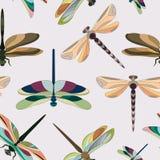 Patroon van silhouetten van libellen Stock Fotografie