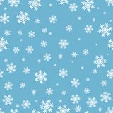 Patroon van sneeuwvlokken het naadloze Kerstmis op blauwe achtergrond stock illustratie