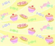Patroon van snoepje en cupcakes Royalty-vrije Stock Fotografie