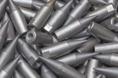 Patroon van staalcnc verwerkte delen De metaalbewerkende industrie close-up Het patroon van de manier Royalty-vrije Stock Afbeeldingen