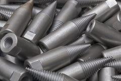 Patroon van staalcnc verwerkte delen De metaalbewerkende industrie close-up Het patroon van de manier Stock Foto