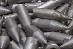 Patroon van staalcnc verwerkte delen De metaalbewerkende industrie close-up Het patroon van de manier Royalty-vrije Stock Afbeelding