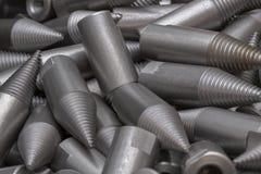 Patroon van staalcnc verwerkte delen De metaalbewerkende industrie close-up Het patroon van de manier Royalty-vrije Stock Foto's
