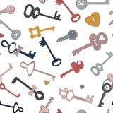Patroon van tekening van sleutels in de beeldverhaalstijl Vectorpatroon voor het creëren van een patroon voor uw project stock illustratie