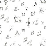 Patroon van tekenings het muzikale vogels Royalty-vrije Stock Foto's