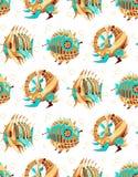 Patroon van twee robot-vissen en een robot-schildpad royalty-vrije illustratie