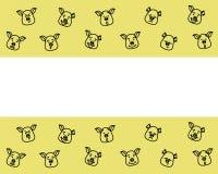 Patroon van varkenshoofd met verschillende emoties, meme, pictogram Kies, vectorbeelden uit Zwart overzicht op groene achtergrond vector illustratie