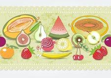 patroon van vastgesteld fruit met realistische schaduw Vector illustratie Stock Illustratie