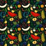 patroon van veel heldere sappige vruchten op een donkere achtergrond Stock Illustratie