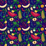 Patroon van veel heldere sappige vruchten op een witte achtergrond vector illustratie