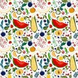 Patroon van veel heldere sappige vruchten op een witte achtergrond Royalty-vrije Illustratie