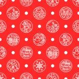 Patroon van vlakke lijnpictogrammen op de de wintervakantie Stock Afbeelding