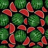 Patroon van watermeloen en watermeloenbrokken Royalty-vrije Stock Fotografie