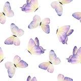 Patroon van waterverf het hand getrokken vlinders royalty-vrije illustratie