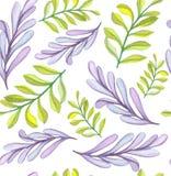 Patroon van waterverf het Lichte Violet And Green Leaves Seamless Royalty-vrije Stock Afbeeldingen