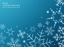 Patroon van witte geometrische sneeuwvlokken op gradiënt blauwe achtergrond royalty-vrije illustratie