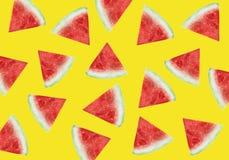 Patroon van zoete sappige stukkenwatermeloen, watermeloenplakken met zaad royalty-vrije stock afbeelding