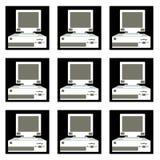 Patroon van zwart-wit, oud, uitstekend, retro, hipster computers in zwarte vierkanten met witte grenzen met convexe monitors en F vector illustratie