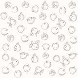 Patroon vectorsilhouetten van appelen Royalty-vrije Stock Afbeelding