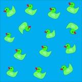 Patroon veertien eenden op blauwe achtergrond vector illustratie