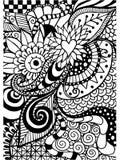 Patroon voor het kleuren van boek Etnisch, bloemen, retro, krabbel, stammenontwerpelement Zwart-witte achtergrond Stock Afbeeldingen