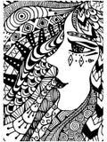 Patroon voor het kleuren van boek Etnisch, retro vrouw, krabbel, stammenontwerpelement Zwart-witte achtergrond Stock Foto's