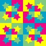 Patroonachtergrond met vierkanten en sterren. Stock Illustratie