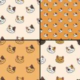 Patrooninzameling met met inkt besmeurde gelukkige kat stock illustratie