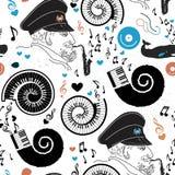 Patroonoverzees, zeekapitein en muziek Stock Foto