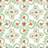 Patroontakken van krullen met oranje bessen stock illustratie